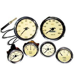 Smiths Replica Gauges Kit Temp+ Oil +Fuel+ Amp Gauge + Mechanical Tacho + Speedo