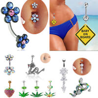 Chic Button Rings Dragon Snake Navel Ring Dangle Body Piercing Belly Jewelry