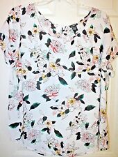 """Torrid"" Georgette Blouse~Button Back~Short Sleeve~Floral~White/Multi~2~NWT"