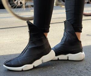 PAPUCEI Schuhe Amadeo Schwarz Weiß Reißverschluss Damen Fashion Sneaker Leder