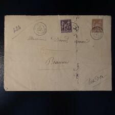 FRANCE SAGE N°80/97 SUR LETTRE RECOMMANDE COVER CAD ROYERE CREUSE 1886 -> BEAUNE