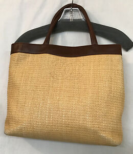 Chanel Purse Natural Straw Brown Leather Trim Double Handle Square Medium