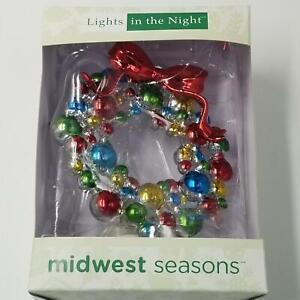 Midwest Seasons Lights in the Night Christmas Wreath Nightlight New