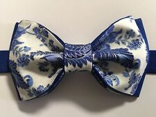 Custom Mens Blue/White Floral Bow Tie Pre-tied Adjustable Handmade bowtie