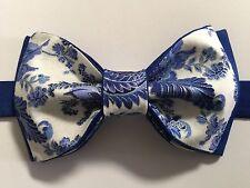 Custom Mens Blue/White Floral Bow Tie Pre-tied Adjustable Handmade bowtie