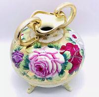 "Antique Nippon Beaded Moriage Vase Art Nouveau Hand Painted Gold ca 1891-1906 6"""