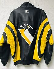 Vintage RARE 90s Leather Starter NHL Pittsburgh Penguins M Stitched Sewn Jacket