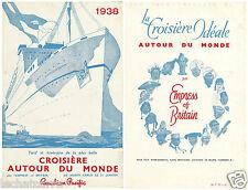 Paquebot - Empress Of Britain - Croisière Autour du Monde - 1937 - RARE !