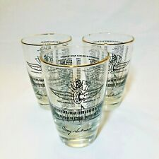 3 Vintage Indianapolis 500 High Ball Bar Glasses 1911-1976 Gold Rim *Set of 3*