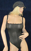 sexy Stringbody, gestreifter Luxus String Body, weich, edel, Schwarz, Gr 36, NEU