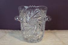 CUT GLASS CRYSTAL ICE BUCKET WITH KNOB HANDLES