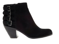 Sam Edelman Lucca Suede Buckle Ankle Boot in Black Size 12M New