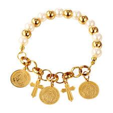 Cute 316L Stainless Steel Cross Coin Charm Bracelet 18K Gold Plate Women Jewelry