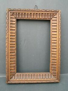 Rare Art Crafts Hand Crafted Folk Art Pattern Picture Frame 4 1/2 x 6 1/2  #2
