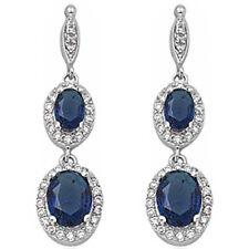 PURE ELEGANCE! DANGLE STYLE BLUE SAPPHIRE .925 Sterling Silver Earring
