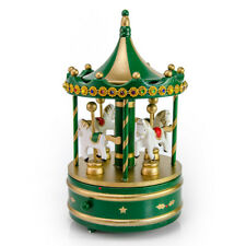 Rotating Gold Musical Christmas Carousel with Horses and Jeweled Canopy