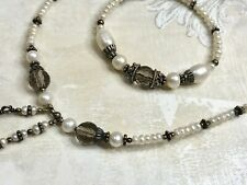 Baroque South Sea Cultured Pearl Sterling Silver and Quartz Necklace & Bracelet