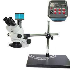 Simul-focal 7-45X Trinocular Industrial Stereo Microscope USB 1080P HDMI Camera