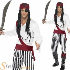 Mens Pirate Caribbean Buccaneer Fancy Dress Costume Adult Halloween Outfit