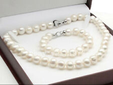 NATURAL 9-10MM SOUTH SEA WHITE PEARL NECKLACE BRACELET 925 Silver clasp
