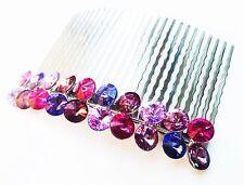 USA QUALITY Hair Comb use Swarovski Crystal Purple Hairpin Twist Purple Metal