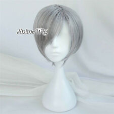 30CM Short Mixed Gray Straight Men Unisex Anime Party Cosplay Wig Heat Resistant