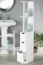 Bathroom Unit slimline storage white 2 draws 3 shelves