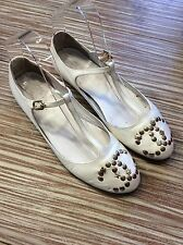 Authentique ballerines cuir blanche Chanel 37
