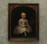 19th c Portrait Painting Child Oil on Board Antique Victorian Folk Art Primitive