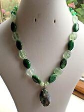 "Fluorite, Aventurine, Agate & Fancy Agate Leaf Pendant 18"" Green Beaded Necklace"