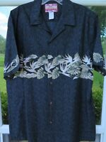 RJC Mens Short Sleeve Cotton Black Blue Floral Hawaiian Camp Shirt Large EUC USA