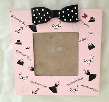"Pink Black Spotted 7 X 7"" Glamor Girl w Dogs Art Picture Frame Holds 4X4"" Photo"