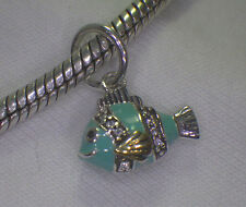UNBRANDED 925 STER SILVER TURQUOISE ENAMEL CLEAR CZ SM DOGFISH EUROPEAN CHARM