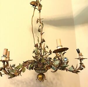 1920s French Paris Chic Painted Tole Iron Flowers Chandelier