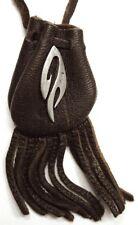 "Tribal design medicine bag-  dark brown draw (""flame"") charm"