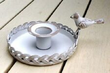 NEW Shabby Chic Rustic White Metal Trianon Candleholder with Bird Handle FREEP&P