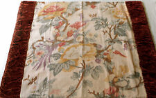 Antique French Bird Chinoisoire Floral & Velvet Fabric Pillow ~ Yellow Lavender