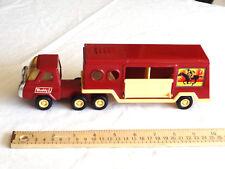 "Vtg Buddy L Pressed Steel Plastic Horse Carrier Trailer Truck Semi Japan 10.5"""