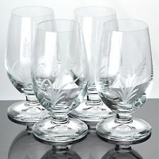 4 Biergläser Pilsgläser Pilstulpen Fußbecher Gläser Ähren Gravur Schliff Glas