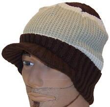 Angela & Williams Adult Rib Box Knit Cuffed Winter Visor Beanie, Hat, #415 Brown
