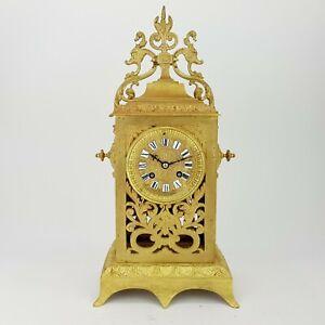 Napoleon III Kaminuhr Bronze feuervergoldet Pendule clock Empire Cartel
