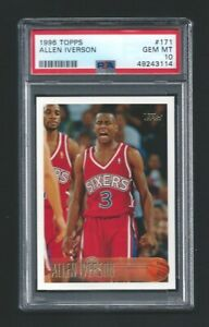1996-97 Topps Allen Iverson Rookie RC #171 PSA 10 GEM MINT Philadelphia 76ers