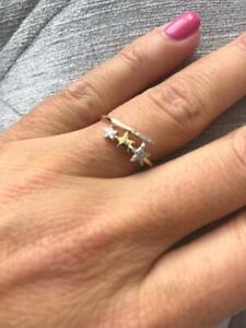 14k Yellow Gold & Diamonds 0.12ct Shooting Star Design Pave Hand Made Ring Sz 7