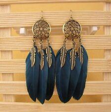 Gothic Women Retro Hook Earrings Ear Stud Feather Statement Dangle Boho Party
