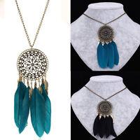 Vintage Women Dream Catcher Pendant Bronze Long Chain Necklace Sweater Jewelry