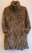 Ladies Karen Millen Faux Fur Leopard Print Coat Size UK 6 8 High Neck
