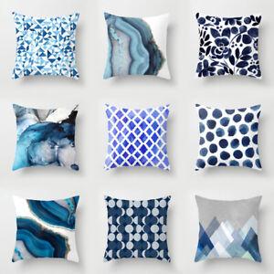 18'' Teal Blue White Abstract Cushion Cover Morden Throw Pillow Case Home Decor