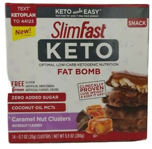 SlimFast Keto Fat Bomb Snacks, Chocolate Caramel Nut Clusters, 14 Pack x 4 Boxes