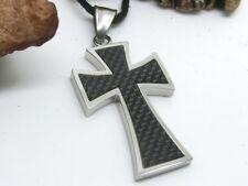 Croix Acier Inox Chaîne Pendentif Carbone Insérer avec Collier