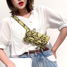 Women Waist Fanny Packs Snake Print Shoulder PU Leather Chest Bags Purse Fashion